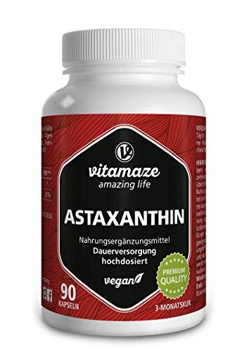 Astaxanthin Kapseln hochdosiert & vegan, 4 mg natürliches Astaxanthin Pulver aus der Blutregenalge, 90 Kapseln für 3 Monate, Pflanzliche Nahrungsergänzung ohne Zusatzstoffe, Made in Germany