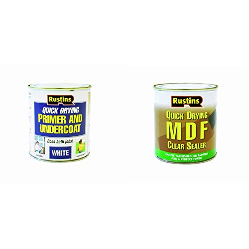 Rustins WHPU250 Primer Paint, White 250ml & MDFS250 250ml Quick Dry MDF Sealer - Clear