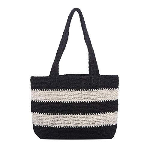 ZEH Frauen weben Umhängetasche Twine gewebt Tasche böhmischen Stil handgefertigte mähen gewebt Tasche (Farbe: braun, größe: eine größe) FACAI (Color : Black, Size : One Size)