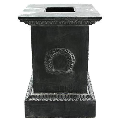 L'Héritier Du Temps standvoet zuil, voor wastafel, bloembak, decoratie buiten, slot van gietijzer, 44 x 44 x 63 cm, grijs