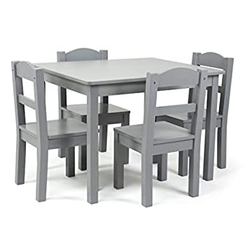 Humble Crew Kids Wood Table and 4 Chair Set Grey