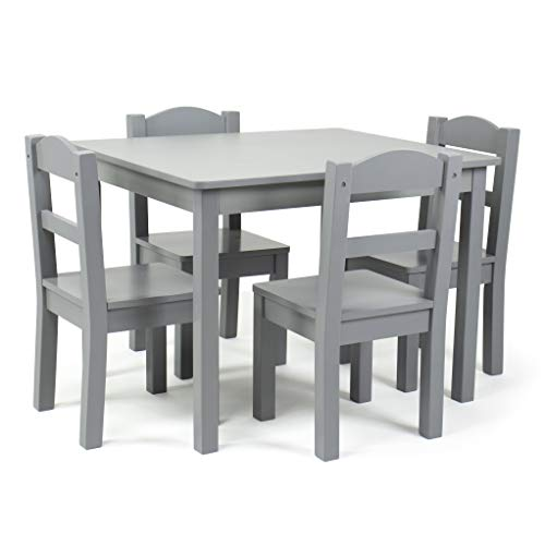 Humble Crew Kids Wood Table and 4 Chair Set, Grey