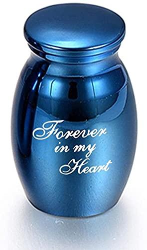 JLXQL Urnas de cremación para Cenizas Forever in My Heart-Negro/Oro Rosa/Azul/Oro/Plata Urnas de cremación para Mascotas Metal Aleación de Aluminio Cenizas Memoria para Mascotas humanas Urna-Azul