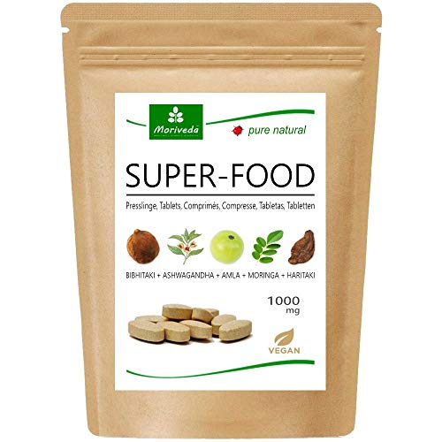 Tabletas de superalimentos MoriVeda® 1000 mg | Mezcla de Moringa + Ashwagandha + Triphala | Proveedor de nutrientes por hasta 2 meses | 120 tabletas