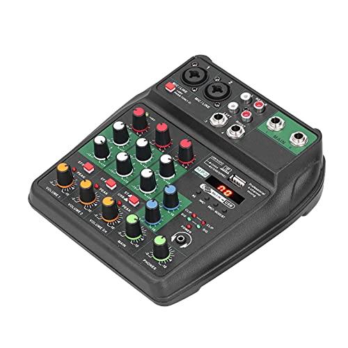 Mezclador de audio portátil, Mini mezclador de audio estéreo de 4 canales Consola mezcladora, Consola mezcladora de sonido USB con + 48V Phantom, Soporte XLR, Mic, RCA, Entrada de 1/4 'para grabación