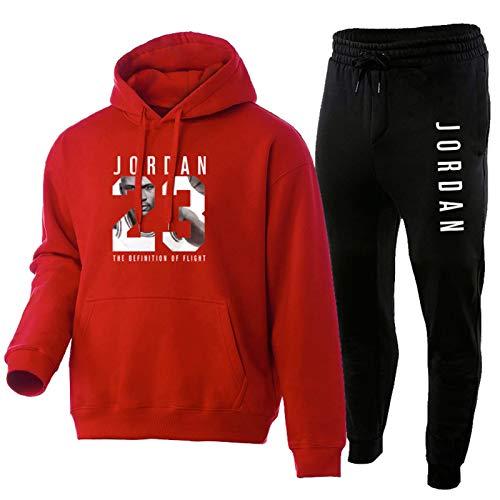 NFNF Tuta Intera per Uomo, Ragazzo, Pantaloni della Tuta da Basket Jordan E Top 2 Pezzi, Felpa Sportiva da Jogging con Cappuccio E Pantaloni da Allenamento Red-M