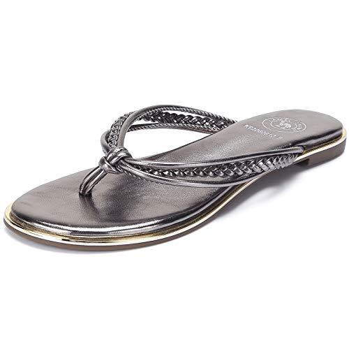 CAMEL CROWN Women's Metallic Flip-Flops Braided T-Strap Thong Flat Sandals Faux Leather Fashion Slip on Beach Summer Shoes