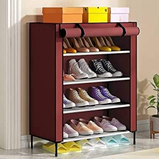Device Multipurpose 4 Layer Shoe Rack for Home Cabinet with Cover Water-Proof & Dust-Proof Shoes Storage Organiser Entranc...