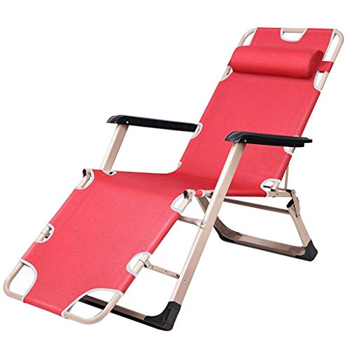 Balcony Office Relaxing Chair Zero Gravity Recliner Lounge Chair, Adjustable 3 Gears,Folding Patio Lawn Pool Chair with Armrests, Support 330lbs HAIKE (Color : Red)