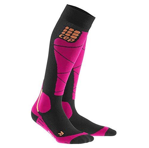 CEP – SKI MERINO SOCKS, Skisocken in schwarz / pink, Größe II für Damen, Kompressionsstrümpfe made by medi