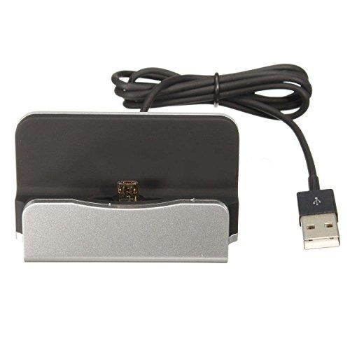 SODIAL(R) Nuevo Micro-USB Estacion Soporte Base de carga de escritorio Cargador de datos de sincronizacion para Android (plata)
