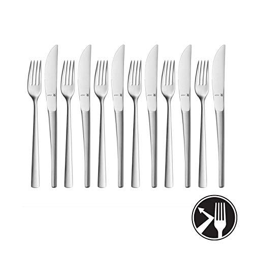 WMF Corvo Dessert-/ Frühstücksbesteck-Set, 12-teilig für 6 Personen, Cromargan protect Edelstahl mattiert, kratzbeständig, spülmaschinengeeignet