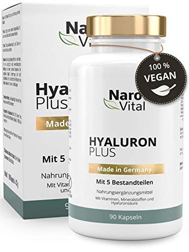 Hyaluronsäure Kapseln - Hochdosiert mit 500 mg - VERGLEICHSSIEGER 07/2020* - 90 vegane Kapseln (3 Monate) - Für Anti-Aging, Haut & Gelenke - 500-700 kDa - NaroVital