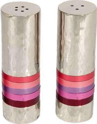 Yair Emanuel Salt and Pepper Shaker Hammered Nickel -  Shades of Pink and Red Maroon Rings (SAB-3) -  4335482377