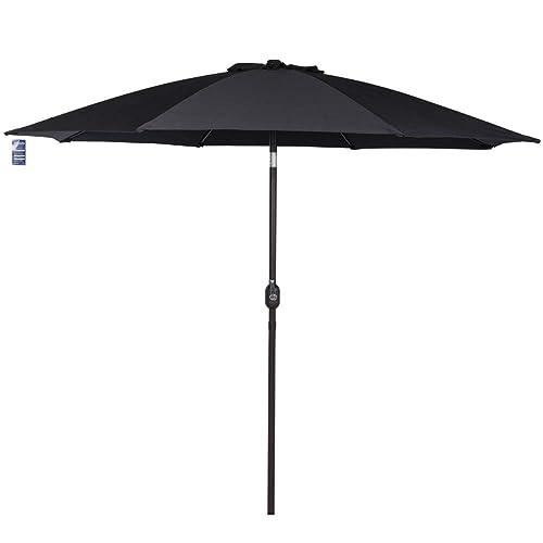 Sundale Outdoor 9 Feet Aluminum Market Umbrella Table Umbrella with Crank  and Push Button Tilt for - Black Patio Umbrellas: Amazon.com