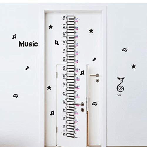 JHLP Muziek Piano Ster Baby Kinderen Hoogte Meet Muur Sticker Kids Kamer Kwekerij Decoratie Home Deur Decor Groeidiagram