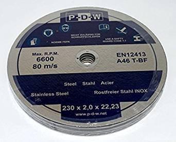 Discos de corte para amoladora angular o de corte (60 unidades, acero inoxidable, diámetro de onda 230 mm, INOX)
