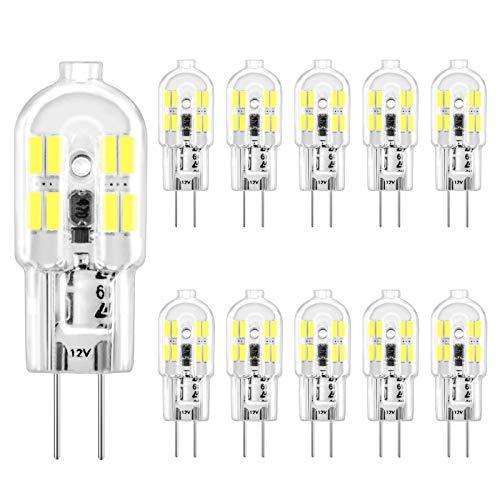 G4 LED Lampen Kaltweiss 6000K, 1,5W Entspricht 20W Halogenlampen, G4 LED GlÜHbirne, CRI> 80Ra, Kein Flimmern, 190LM, Nicht Dimmbar, AC/DC 12V, 10er Pack, CHEERBEE