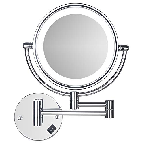 Wall Mounted LED Makeup Mirror SanaWell 3X Lighted Mirror with 8 Inch Double Sided 360° Vanity Mirror for Bathroom Chrome Finished Silver