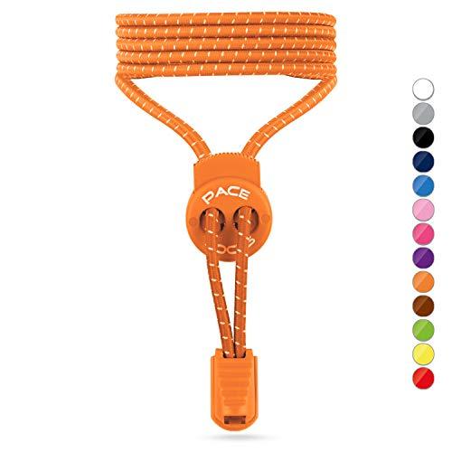 ALPHAPACE Pace Locks Elastische Schnürsenkel mit Schnellverschluss - Gummi Schnürsenkel Elastisch ohne Binden für Kinder, Sport, Triathlon - Schnellschnürsystem Schuhe Schuhbänder - Orange