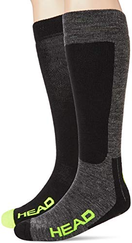 HEAD Unisex Kneehigh Ski Socks (2 Pack) Chaussettes, noir/gris/jaune, 43/46 (lot de 2) Mixte