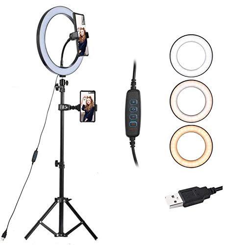 【2019最新版】 LEDリングライト 外径10.2 inch 撮影用ライト USB給電 自撮りライト 自撮りスタンド 化粧ラ...