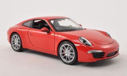 Porsche 911 Carrera S (991), rot , Modellauto, Fertigmodell, Welly 1:24