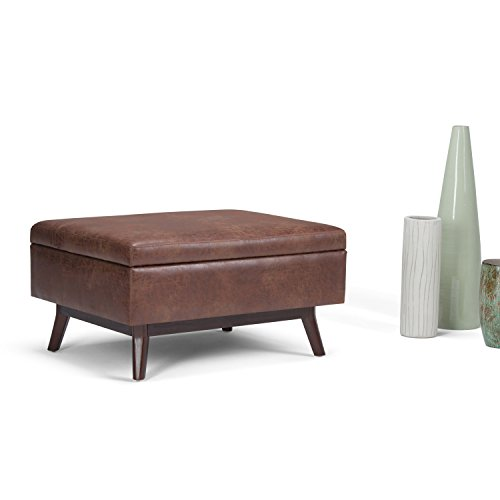 SIMPLIHOME Owen 34 inch Wide Rectangle Coffee Table Lift Top Storage Ottoman, Cocktail Footrest Stool in Upholstered Distressed Saddle Brown Faux Air Leather, Mid Century Modern, Living Room