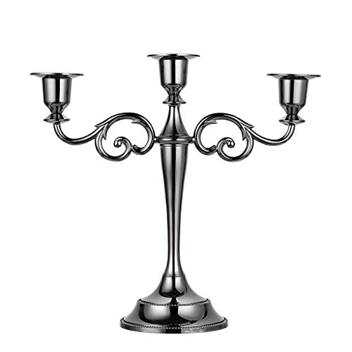 OwnMy 3 Arms Metal Candelabra Candlestick Silver European Elegant Candle Holder Candle Stand for Wedding Dining Table Christmas Party Home Decoration...