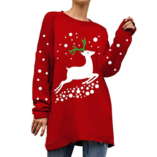 BIKETAFUWY Weihnachtspullover Damen Winter Pullis Strickpullover Sweatshirt Cardigan Langarm Top Oberteil Festlich Strickpulli Weihnachten Ugly Christmas Sweater mit Schneemann Rentiermuster