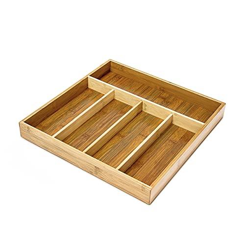 Relaxdays Range-Couverts avec 5 Compartiments en bambou HxlxP : 4 x 34 x 33,5 cm organiseur de tiroir en bois, nature