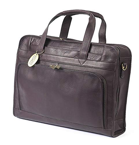 Claire Chase Professional Leather Laptop Briefcase, Computer Bag in Cafe