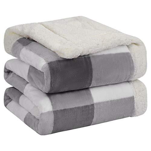 PiccoCasa Sherpa Decke doppelseitiger Decke Kariert Tagesdecke Dicke Kuscheldecke Weich und Warm Flauschige Flanelldecke Couchdecke Überwürfe Grau+Weiß 160x200cm
