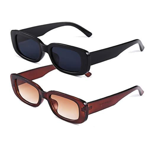 Long Keeper Gafas de sol rectangulares Protección UV400 Gafas de conducción retro para mujer (Negro+Marrón)