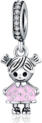 LaMenars Sweet Girl Charms for Bracelets, 925 Sterling Silver Beads, fits Bracelet Necklaces, Birthday Mother's Day Christmas Gifts for Women