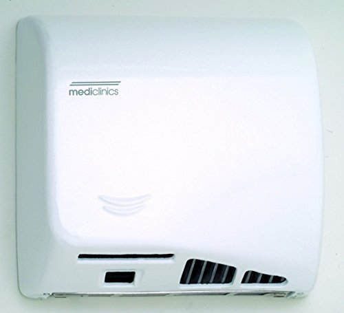 Saniflow M06AF Speedflow Automatic Hand Dryer, One-piece Cast Iron Cover White Porcelain Finish, Universal Voltage, Maximum Robustness and Vandal-proof, Suitable for Very High Traffic Facilities