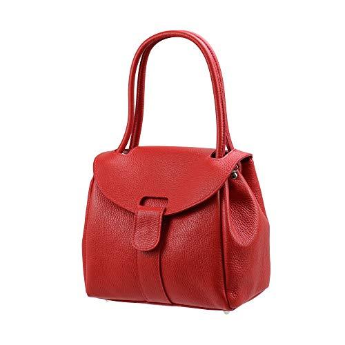 SH Leder Echtleder Schultertasche Handtasche Genarbte oder Krokoprägung Leder 27x21cm Vanessa G222 (Rot)