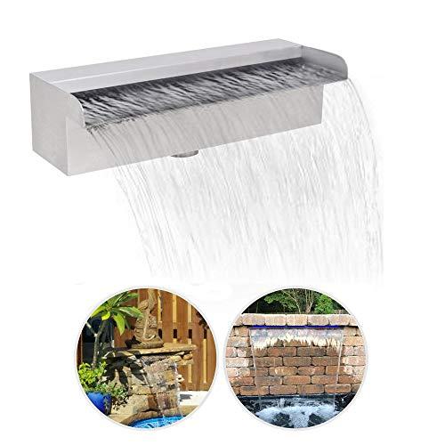MaquiGra Pool Garten Teich Wasserfall Rechteckiger Wasserfallbrunnen aus rostfreiem Stahl 300 * 160 * 140 mm Wasservorhang für Innendekoration draußen