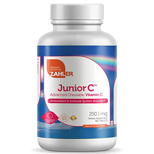 Zahler Junior C, Antioxidant Supplement, Top Quality Chewable Vitamin C, Delicious Tasting All-Natural Orange Flavor, Certified Kosher (Large, 180 Chewable Tablets)
