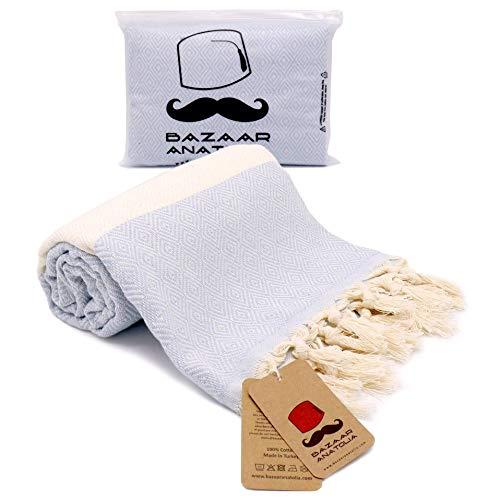 Bazaar Anatolia Diamond Turkish Towel 100prozent Baumwolle Pestemal Badetuch 77x38 Thin Lightweight Travel Camping Bath Sauna Beach Gym Pool Decke Fouta Brautjungfer Geschenk Quick Dry Handtücher (hellblau)