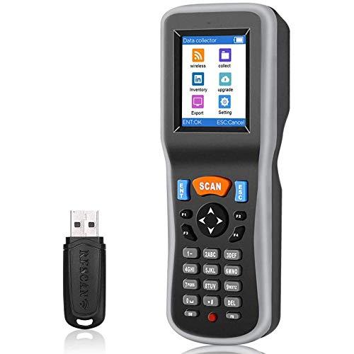 Scanner d'inventaire, collecteur de données de Scanner de Codes-Barres sans Fil 1D Portable, Dispositif d'inventaire de Terminal de données avec récepteur USB et écran LCD Couleur TFT 2,2 Pouces