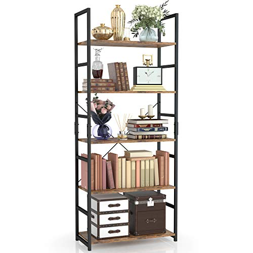 NUMENN 5 Tier Bookshelf Tall Bookcase Shelf Storage Organizer Modern Book Shelf for Bedroom Living Room and Home Office Vintage