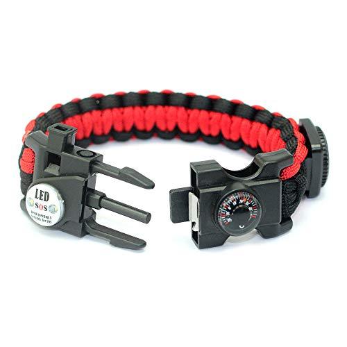 DLSM Outdoor Survival Emergency Multifunctional Umbrella Rope Survival Bracelet Multifunctional Flintstone Bracelet-2pcs-Red black
