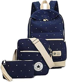 Canvas Dot Three Pieces Sets Packbag Fashion Shoulder Bag School Bag Junior, Blue