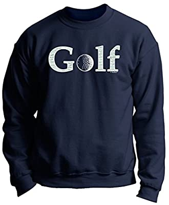 Birthday Gift for Golfer Golf Word Collage Golfer Golfing Gift Premium Crewneck Sweatshirt Large Navy