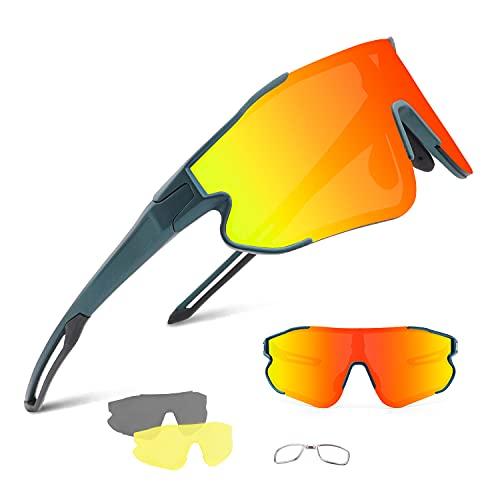 BangLong Gafas Sol Polarizadas Ciclismo Hombre Mujer con 3 Lentes Intercambiables UV400 Y Montura De TR-90, Gafas Sol Deportivas para Running MTB Bicicleta