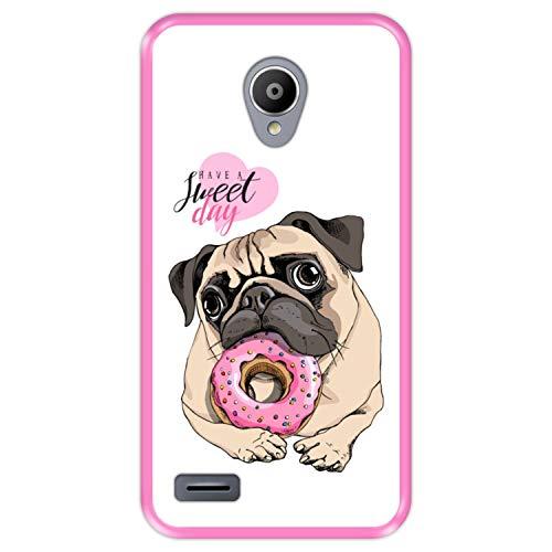 Hapdey Funda Rosa para [ Vodafone Smart Prime 6 ] diseño [ Cachorro Pug, Que tengas un día Dulce ] Carcasa Silicona Flexible TPU