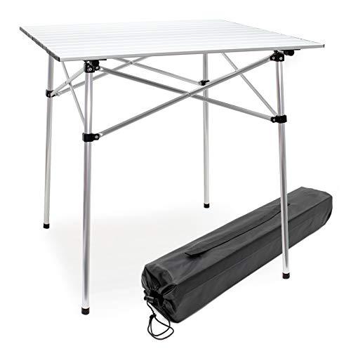 Wiltec Aluminium Camping Rolltisch mit 70x69cm zusammenrollbarer Tischplatte und Transporttasche Falttisch