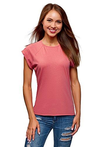 oodji Ultra Mujer Camiseta de Algodón Básica, Rosa, ES 34 / XXS