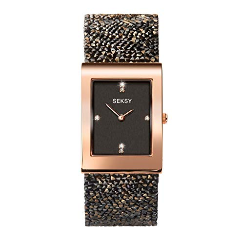 Seksy Rocks Collection Rectangular Dial Swarovski Stone Set Bracelet Ladies Watch (Brown-2653)